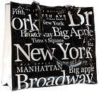 New York City B/W Letter Shopping Tote Bag, Large