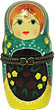 3.5  Porcelain Hinged Box Nesting Doll, Teal