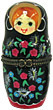 3.5  Porcelain Hinged Box Nesting Doll, Black