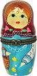 3.5  Porcelain Hinged Box Nesting Doll, Magenta