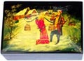 Russian Lacquer Box - Village Couple in Winter, 5 L