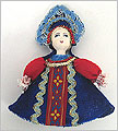 Russian Doll Ornament - Assorted Blue Skirt