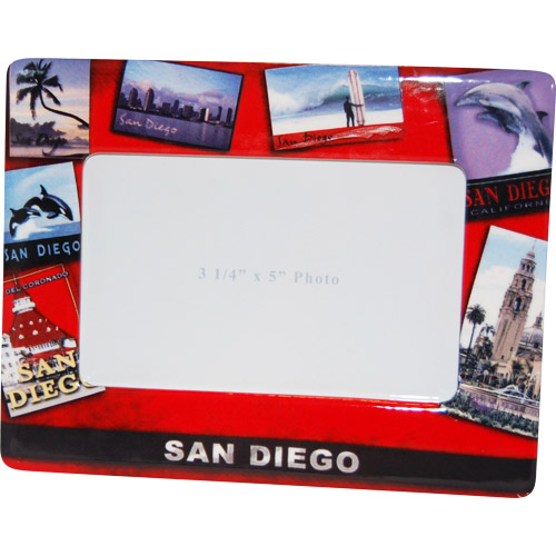 San Diego Bright Red Post Card Picture Frame Features San Diego