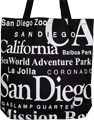San Diego Tote Bag - White Letters on Black Canvas, 14.5 H
