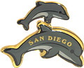 Souvenir San Diego fridge magnet with loving mother and child dolphins