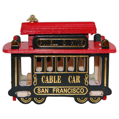 San Francisco Souvenir Wooden Cable Car Magnet