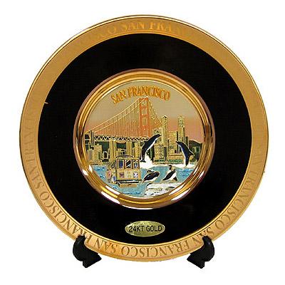 24k Gold Chokin Plate In Black San Francisco