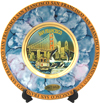 San Francisco Chokin Plate, Blue/Purple Mother-of-Pearl, 6D