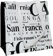 San Francisco Souvenir Tote Bag in B/W Letters, Small - White