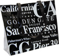 San Francisco Souvenir Tote Bag in B/W Letters, Large