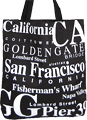 San Francisco Souvenir Canvas Tote Bag - Black, 14.5H