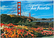 San Francisco Golden Gate Bridge and Flower Field Photo Magnet