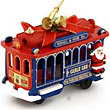 San Francisco Christmas Wooden Cable Car Ornament, Red/Blue with Santa