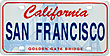 San Francisco Mini License Plate Fridge Magnet, Metal