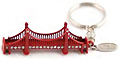 Golden Gate Bridge 3-D Red Metal Keychain with Rhinestones