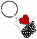 I Love San Francisco  Metal Keychain with Rhinestones