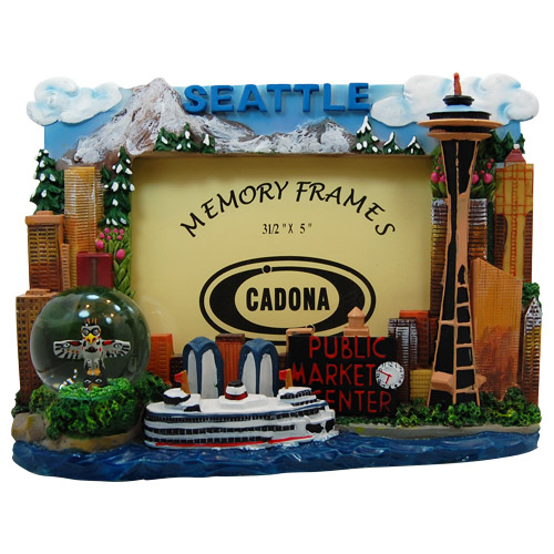 Seattle City Picture Frame With Mini Snowglobe