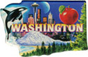 Washington Scenes State Map - Large Acrylic Magnet