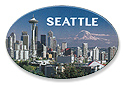 Seattle Skyline Photo Oval Tin Magnet