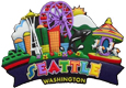 Seattle Souvenir Magnet - Collage of Seattle Icons