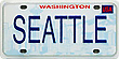 Mini Seattle License Plate Fridge Magnet, Metal