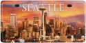 Seattle Sunset License Plate, Metal Fridge Magnet