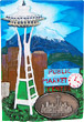 Seattle Souvenir Magnet with Pewter Emblem