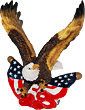 Patriotic Bald Eagle and USA Flag Figurine - 4.25H