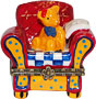 Teddy Bear On Arm Chair - Porcelain Trinket Box