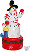 Snowman With Stocking on Red Base - Trinket Box