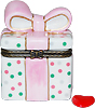 Polka Dot Pink Bow Present Trinket Box