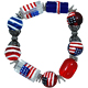 Patriotic USA Genuine Glass Jewelry Bracelet
