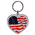 Heart Shaped USA Flag Acrylic Key Chain