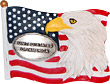 USA Flag and Bald Eagle Magnet with Pewter Emblem