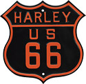 Harley-Davidson Route 66 Die Cut Embossed Tin Sign, Ex-Large 16x16