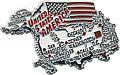 USA Country Map Magnet