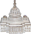 US Capitol Building Enamel Jeweled Trinket Box
